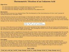 Thermometric Titration of an Unknown Acid Lesson Plan