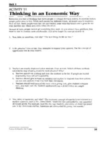 Thinking in an Economic Way Worksheet