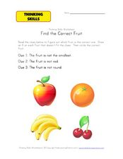 Thinking Skills: Find the Correct Fruit Worksheet