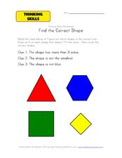 Thinking Skills: Find the Correct Shape Worksheet
