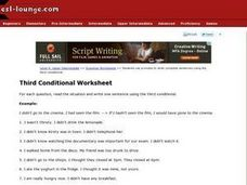 Third Conditional Worksheet Worksheet