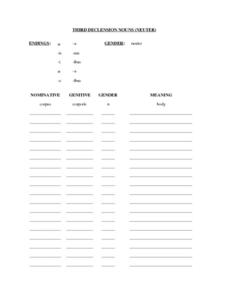 Third Declension Nouns (Neuter)  Worksheet