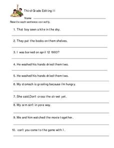 Third Grade Editing II Worksheet