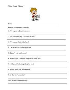 Third Grade Editing Worksheet