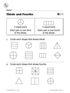 Thirds and Fourths Worksheet