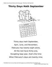 """Thirty Days Hath September"" Pre-K - 2nd Grade Worksheet ..."