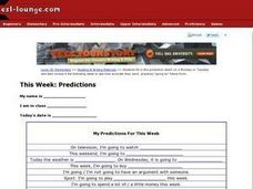 This Week:  Predictions Worksheet