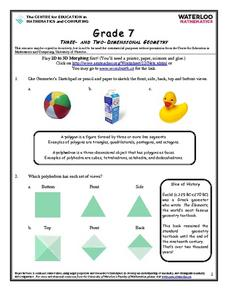 Three- and Two- Dimensional Geometry Worksheet