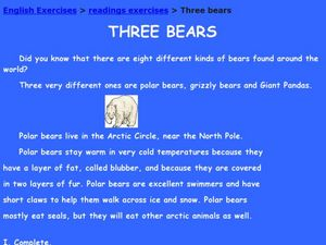 Three Bears Worksheet