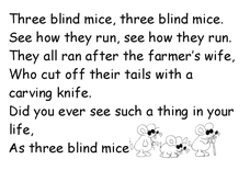 Three Blind Mice Worksheet