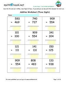 Three Digit Addition With Regrouping Virtual Worksheets Worksheet