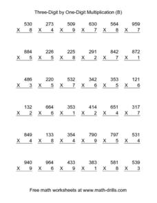 Three-Digit by One-Digit Multiplication (B) Worksheet