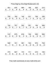 Three-Digit by One-Digit Multiplication [D] Worksheet