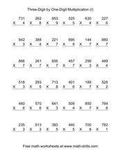 Three-Digit by One-Digit Multiplication (I) Worksheet