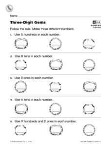Three-Digit Gems Worksheet