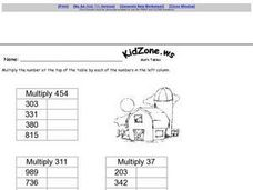 Three Digit Multiplication Tables Worksheet