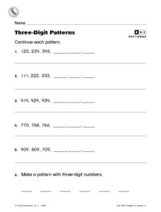 Three-Digit Patterns Worksheet
