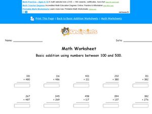 Three Digit Vertical Addition Using Numbers Between 100 and 500 Worksheet