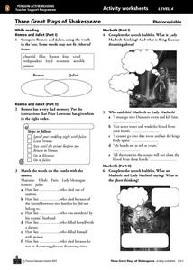 Three Great Plays of Shakespeare Worksheet