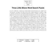 """Three Little Bikers Word Search Puzzle Worksheet"