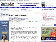 Three Little Pigs - Venn Diagram Lesson Plan