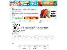 Tic Tac Toe Math Addition 7 Worksheet