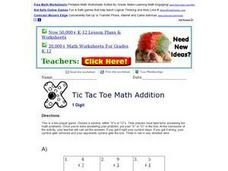 Tic Tac Toe Math Addition 9 Worksheet
