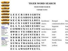 Tiger Word Search Worksheet