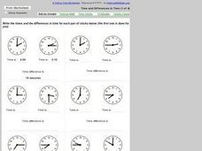 Time and Differences in Time #1 Worksheet