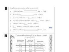 Time and Division Problems Worksheet