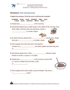 Time and Food Words Worksheet