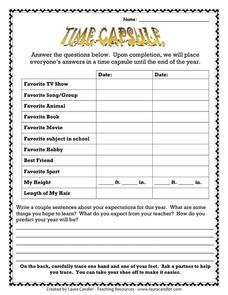 Time Capsule 1st - 6th Grade Worksheet | Lesson Planet