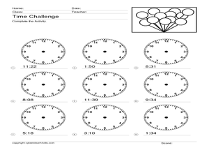 Time Challenge 8 Worksheet