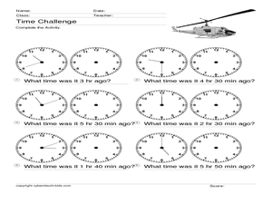 Time Challenge: Time Differentials 3 Worksheet