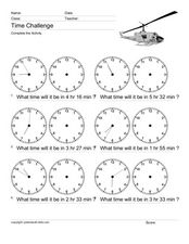 Time Challenge: what time will it be? Worksheet