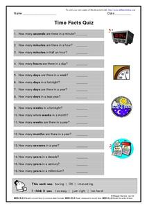 Time Facts Quiz Worksheet