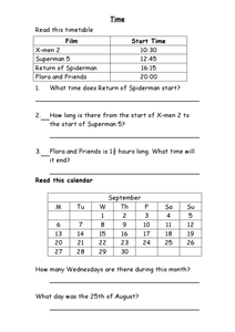 Time: Film Timetables and Calendars Worksheet