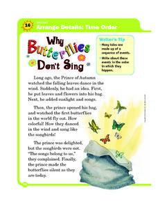 Time Order: Why Butterflies Don't Sing Worksheet
