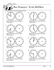Time Passages: To the Half Hour Worksheet