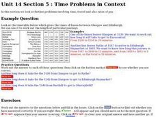 Time Problems in Context Worksheet