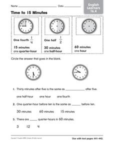 Time to 15 Minutes English Learners 16.4 Worksheet