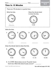 Time to 15 Minutes: Homework Worksheet