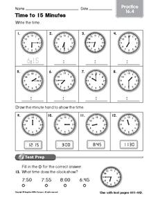 Time to 15 Minutes: Practice Worksheet