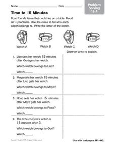 Time to 15 Minutes Problem Solving 16.4 Worksheet