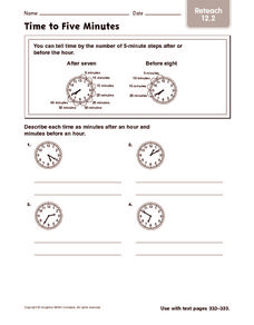 Time to Five Minutes: Reteach Worksheet