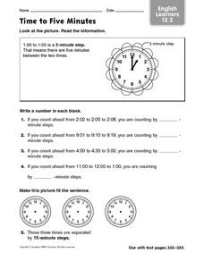 Time to Five Minutes Worksheet
