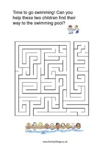 Time to Go Swimming Maze Worksheet