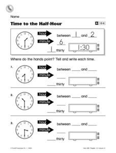 Time to the Half-Hour Worksheet