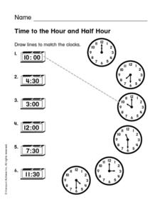 Time to the Hour and Half Hour Worksheet