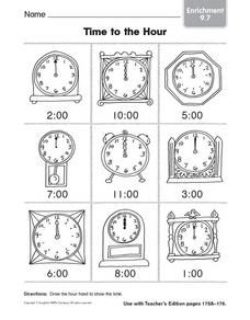 Time to the Hour: Enrichment Worksheet